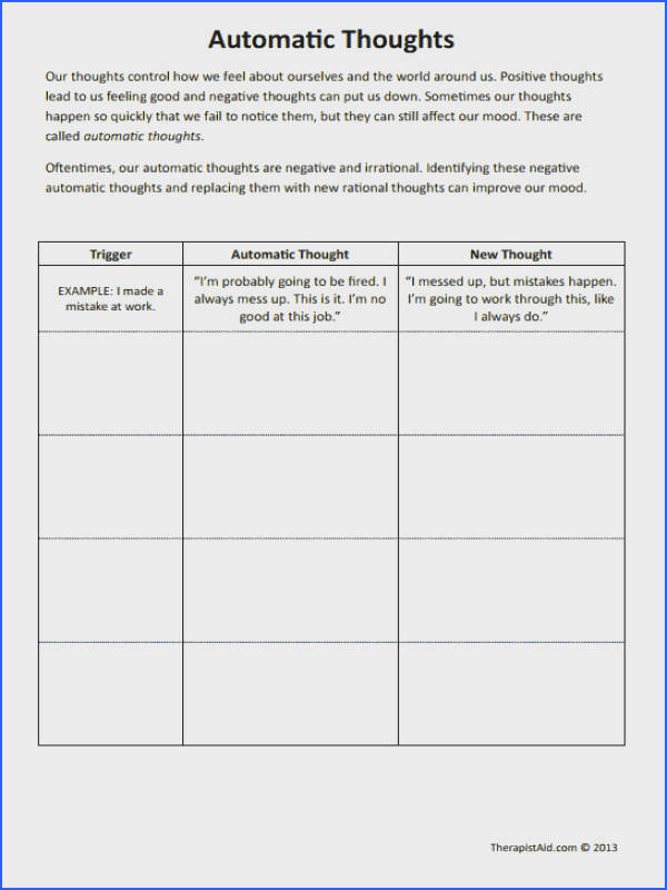CBT Worksheets Automatic Thoughts Preview Good for negative self talk and filtering