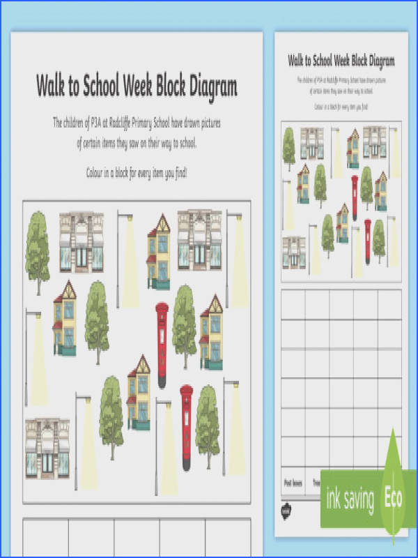 CfE First Level Walk to School Week Block Diagram Worksheet Activity Sheet CfE Walk