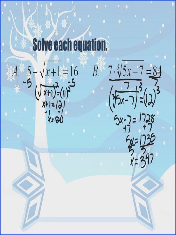 4 Solve each equation