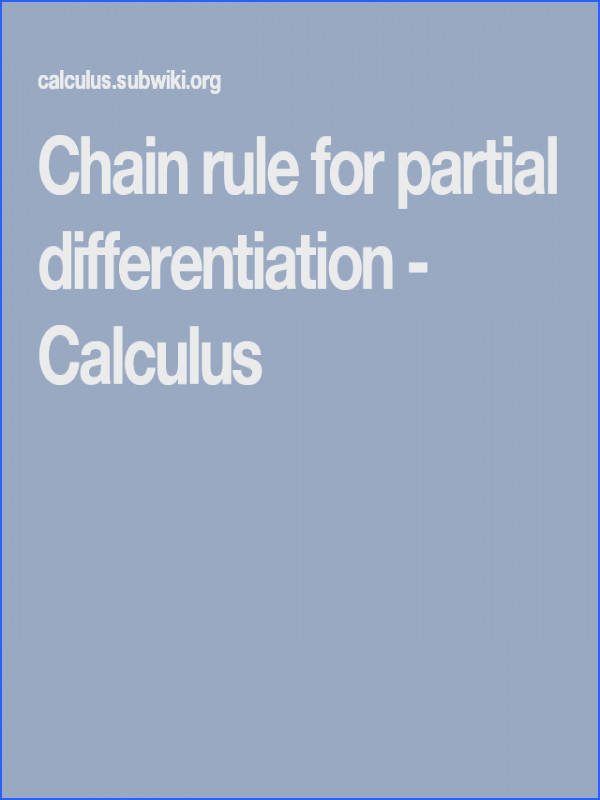 Chain rule for partial differentiation Calculus
