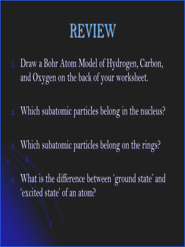REVIEW Draw a Bohr Atom Model of Hydrogen Carbon and Oxygen on the back