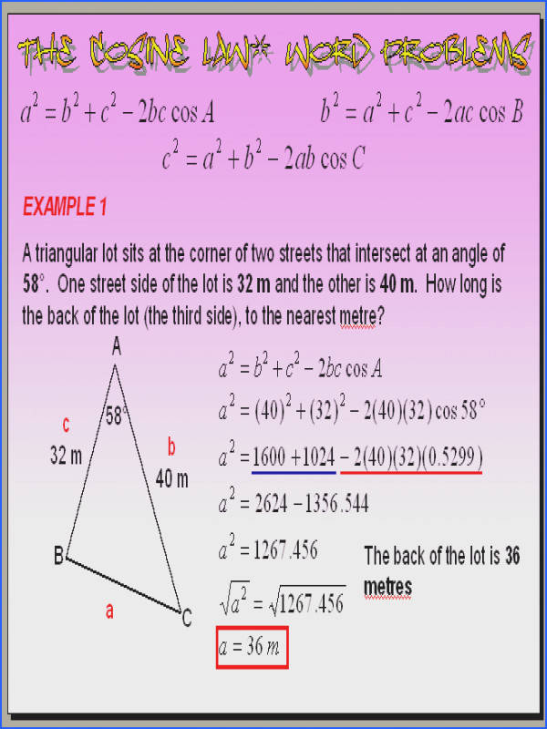Chapter 6 6 Part 2 The Cosine Law Word Problems