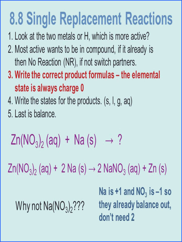 8 8 Single Replacement Reactions