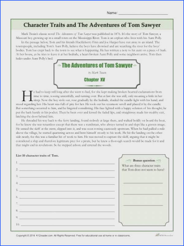 Free Printable Character Traits Worksheet The Adventures of Tom Sawyer