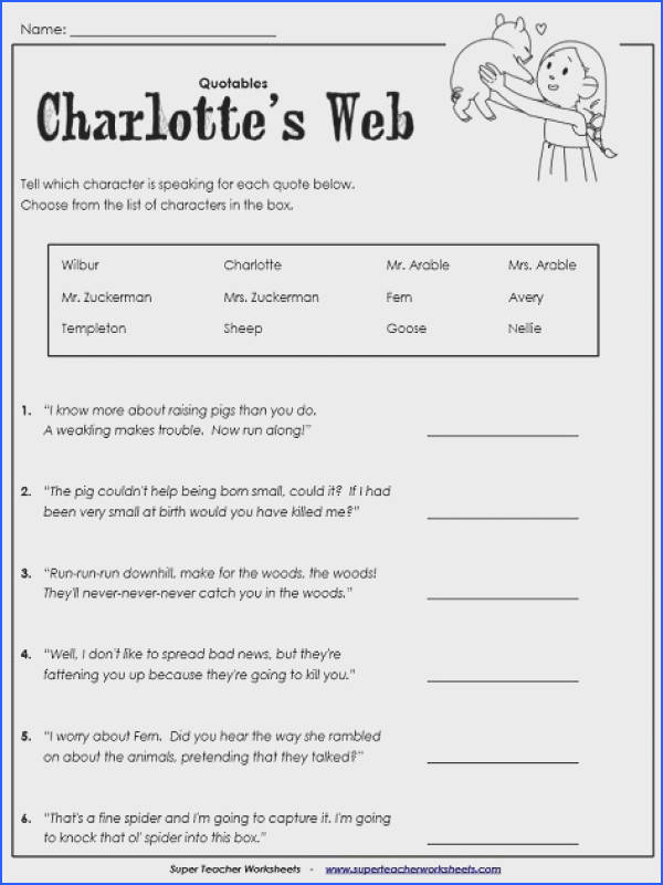 Charlotte s Web Worksheet