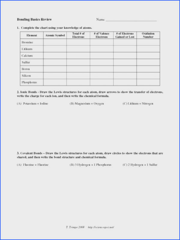 Ionic Bonding Worksheet Answers Mychaume