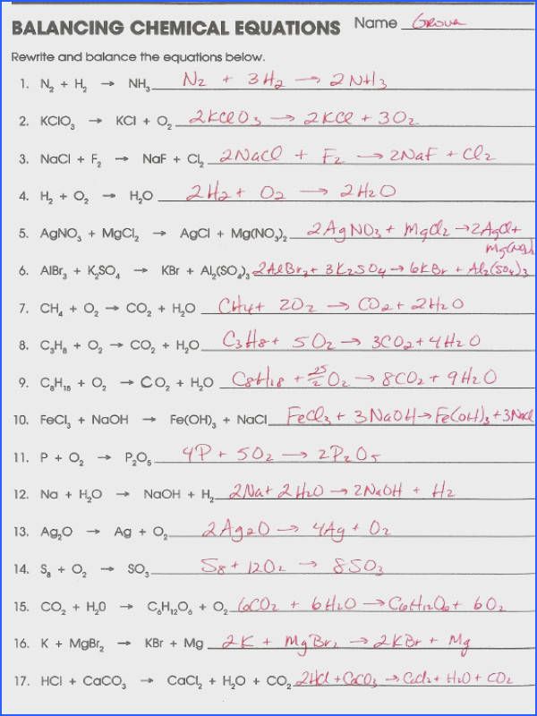 Chemistry Balancing Chemical Equations Worksheet Answer Key Elegant Balancing Chemical Equations Worksheet 1 Answer Key Free
