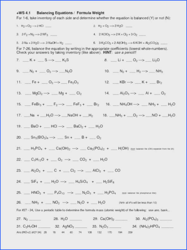 Chemistry Balancing Equations Worksheet Answers Worksheets for all Download and Worksheets