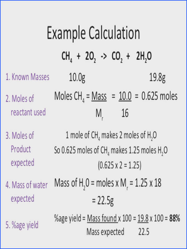 chemistry calculations percent yield and atom economy 3 638