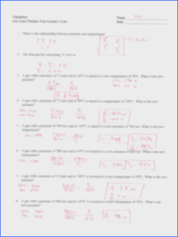 Chemistry Gas Laws Worksheet Elegant Gas Laws Packet Key Chemistry Name He Er Gas Laws Packet