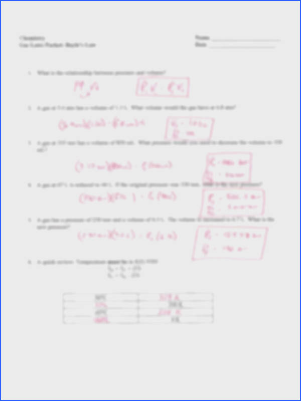 Chemistry Gas Laws Worksheet New Gas Laws Packet Key Chemistry Name He Er Gas Laws Packet