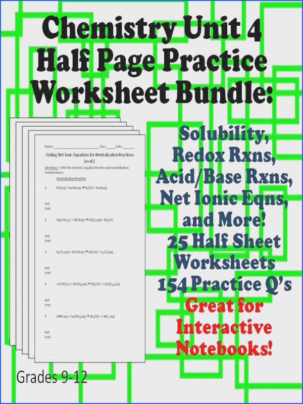 Chemistry Half Page Practice Sheets Great for Interactive Notebooks This unit covers solubility