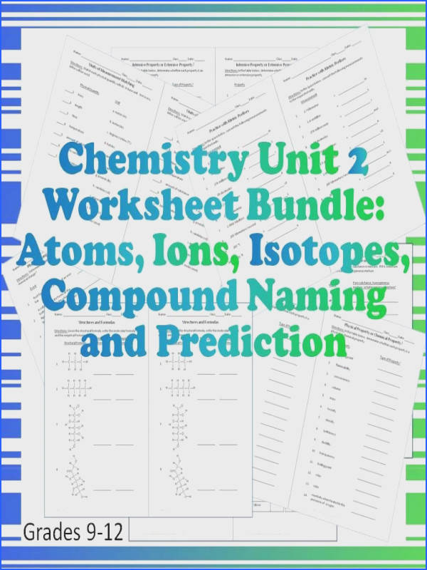 Chemistry Worksheet Bundle The second unit of the year is covered in this bundle that