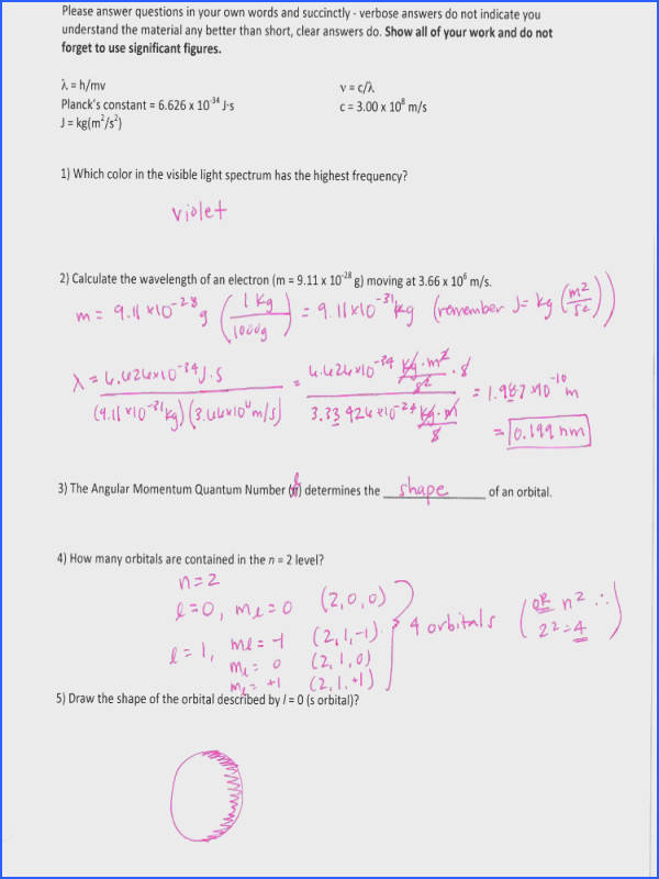 Chemistry worksheet Calculating wavelength visible light Quantum numbers