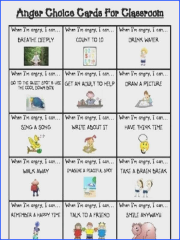 child anger worksheets