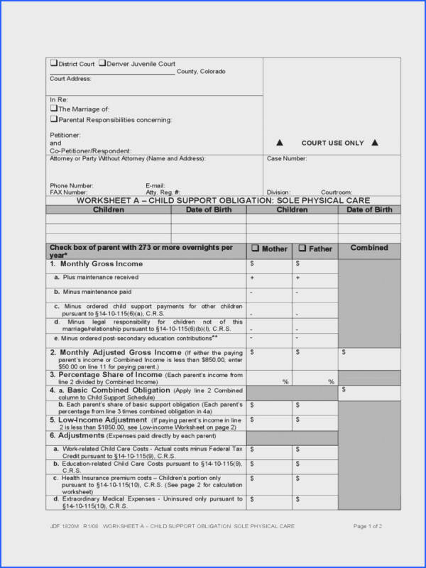 Worksheets For All Download And Worksheets Free Colorado Divorce Forms Child Support