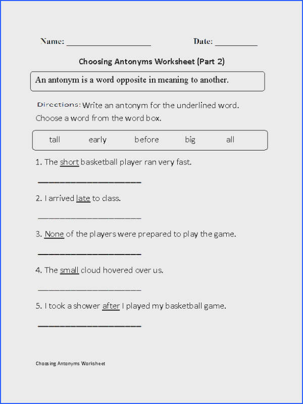 Choosing Antonyms Worksheets Part 2