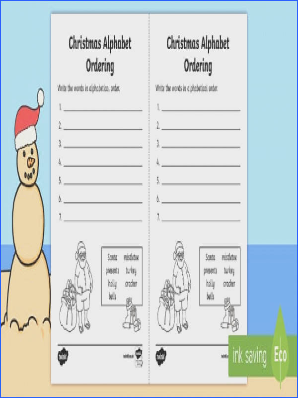 AU T 2127 Christmas Alphabet Ordering Worksheet ver 1