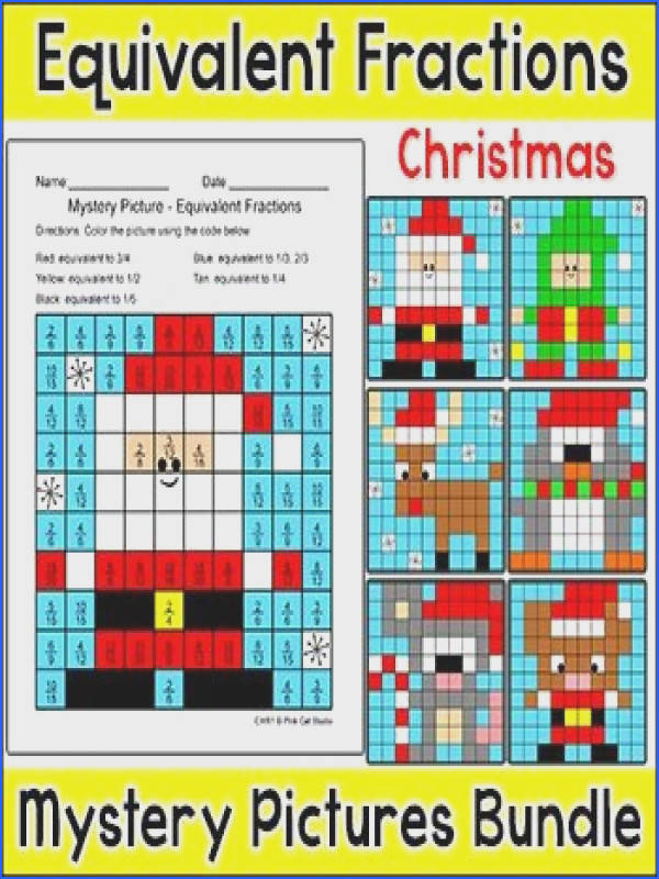 Christmas Math Equivalent Fractions Color by Number Bundle