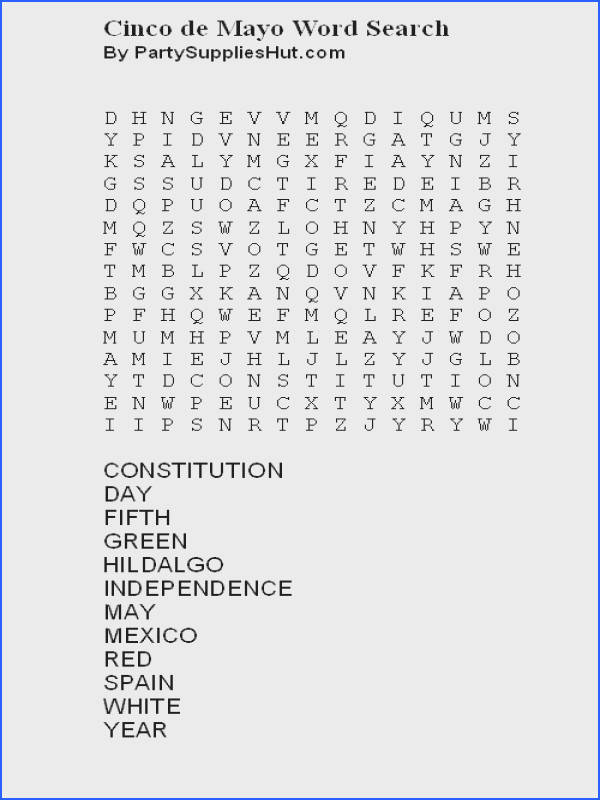 Cinco de Mayo Word Search Puzzle Image and Print from Your Browser