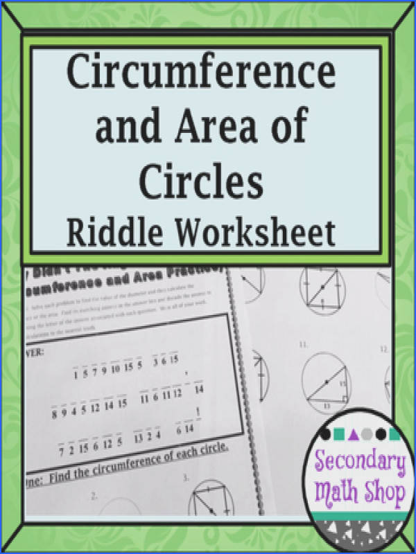 Circles Geometry Circumference and Area of Circles Riddle Worksheet