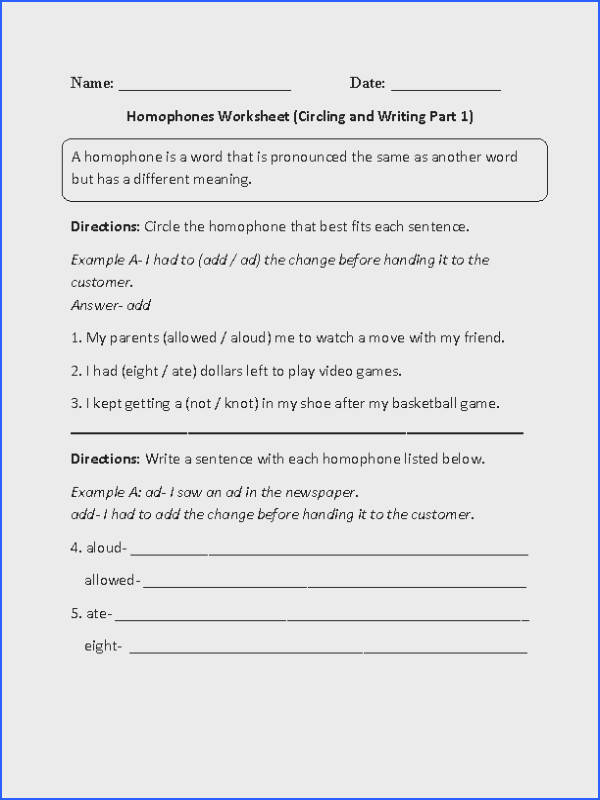 This homophones worksheet directs the student to find the homophone in the sentence and write sentences with homophones