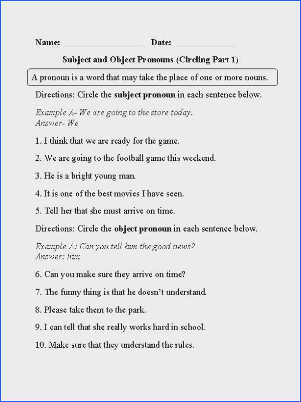 Circling Subject and Object Pronouns Worksheet Part 1