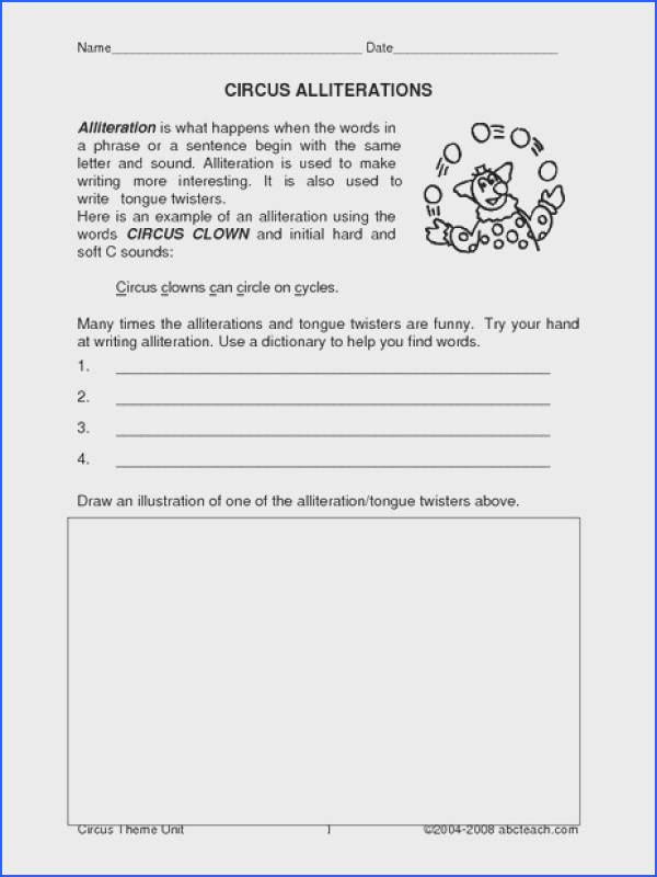 Circus Alliterations 2nd 3rd Grade Worksheet