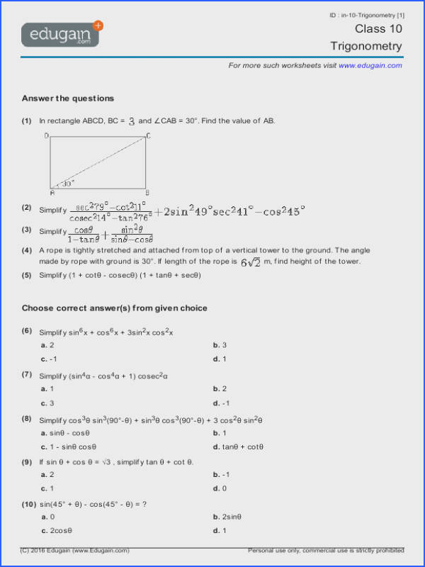 Class 10 Math Worksheets and Problems Trigonometry Image Below Trig Word Problems Worksheet