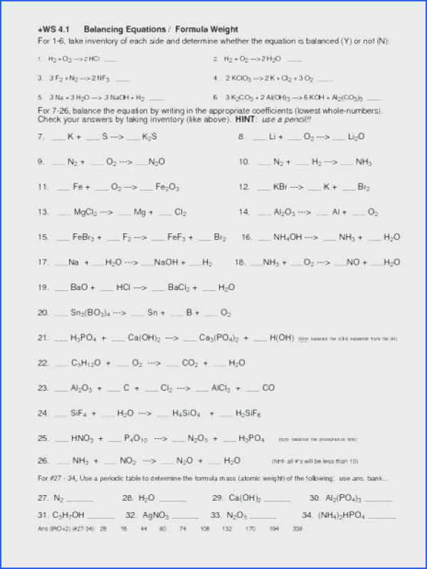 classifying chemical reactions worksheet answers as