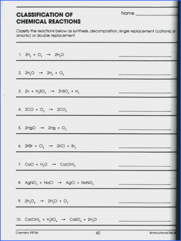 classifying chemical reactions worksheet answers as well as this is a simple easy to follow one