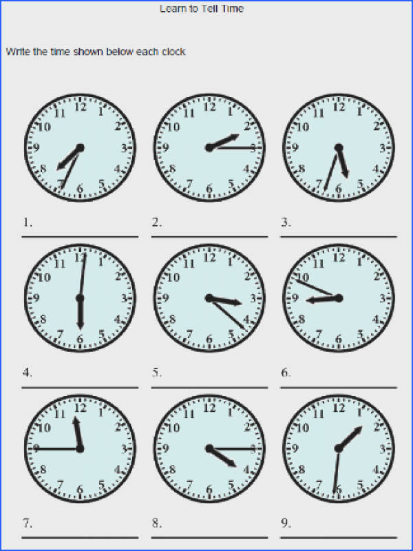 clock worksheets to learn to tell time