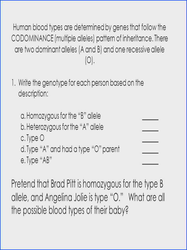 inheritance worksheet · human blood types are determined by genes that follow the codominance multiple alleles pattern
