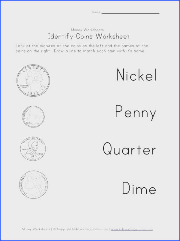 coin names worksheet