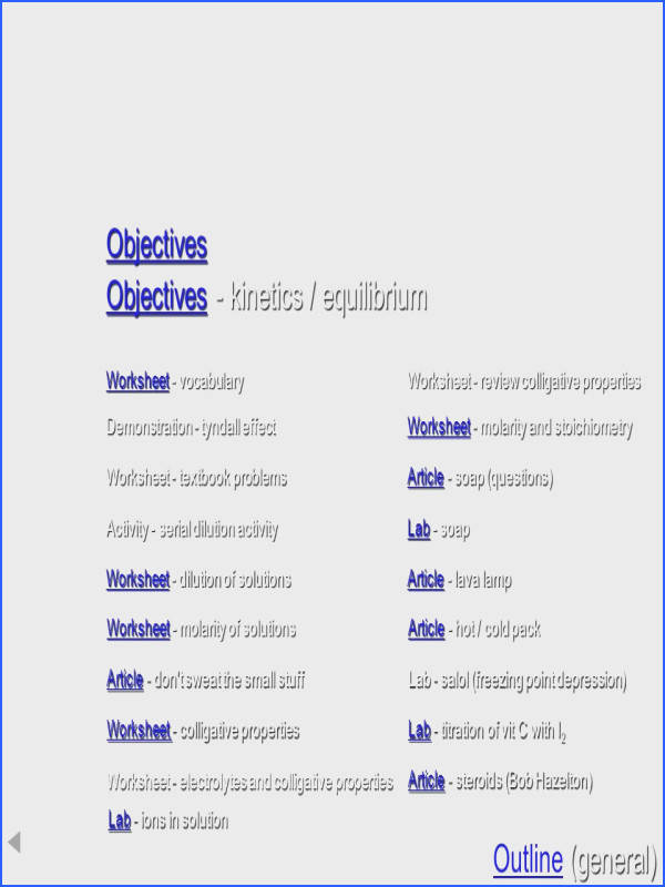 47 Resources Solutions Objectives Objectives kinetics equilibrium Worksheet vocabulary Worksheet review colligative properties