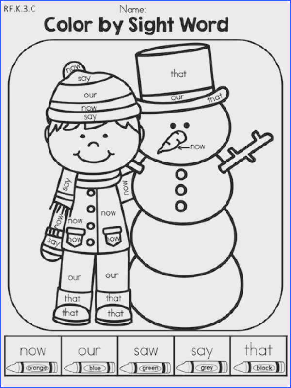 Color by Sight Word Part of the Winter Kindergarten Literacy Worksheets packet