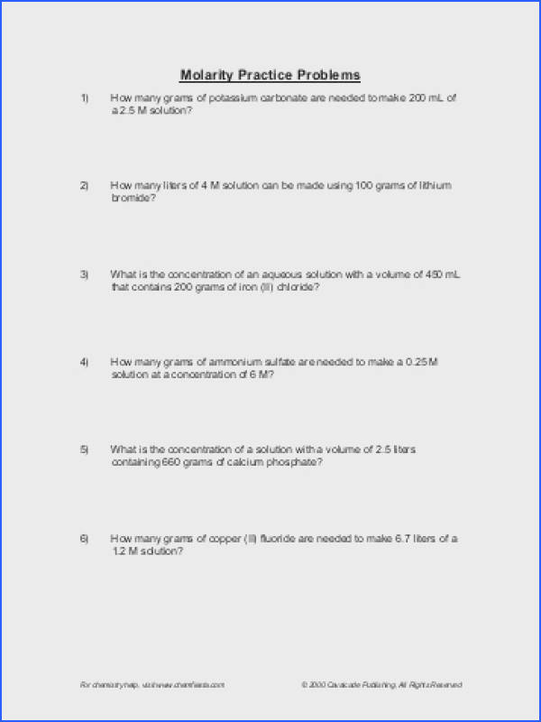 Molarity Calculations Worksheet Free Worksheets Library Download