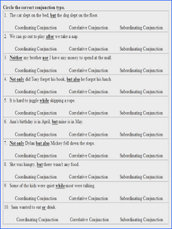 Conjunctions Coordinating Correlative and Subordinating Conjunction Activities Worksheets Printables and