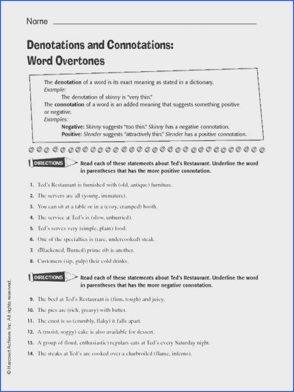 Connotation Denotation Worksheets Hypeelite Image Below Connotation and Denotation Worksheets