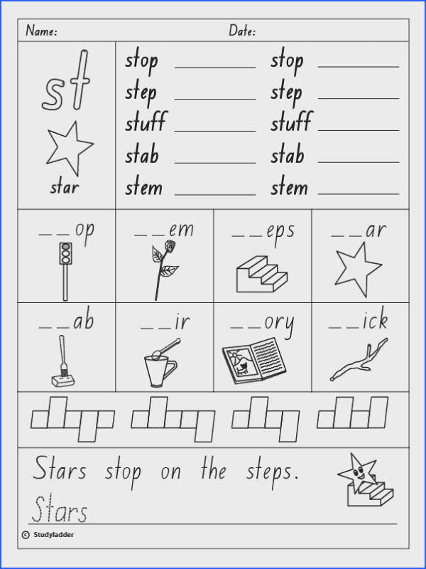 "Consonant Blend ""st"" English skills online interactive activity lessons"