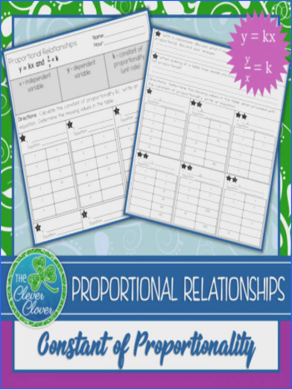 Constant of Proportionality Worksheet Constant of Proportionality Worksheet