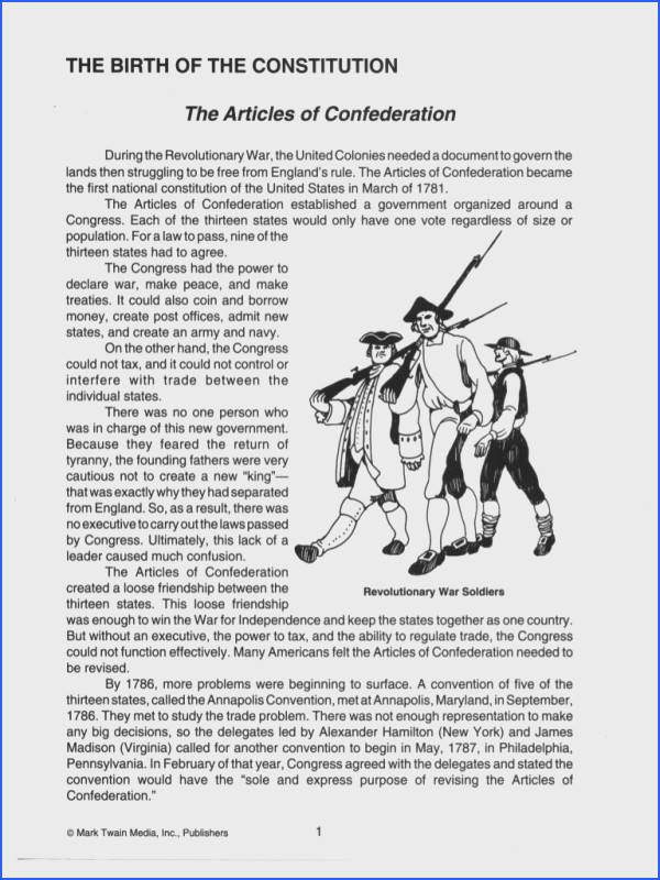 Constitution worksheets