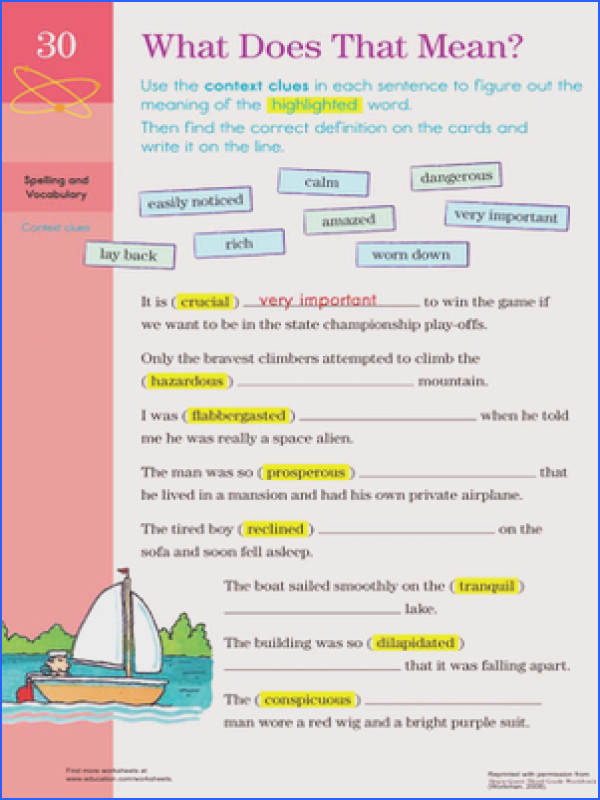 Context Clues Middle School Worksheets Worksheets for all Download and Worksheets