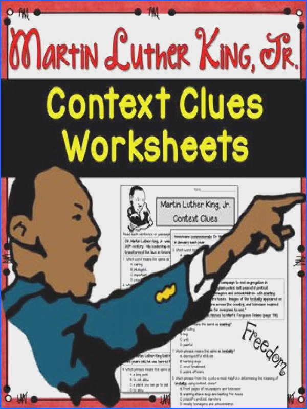 Context Clues Worksheets Martin Luther King Jr test prep