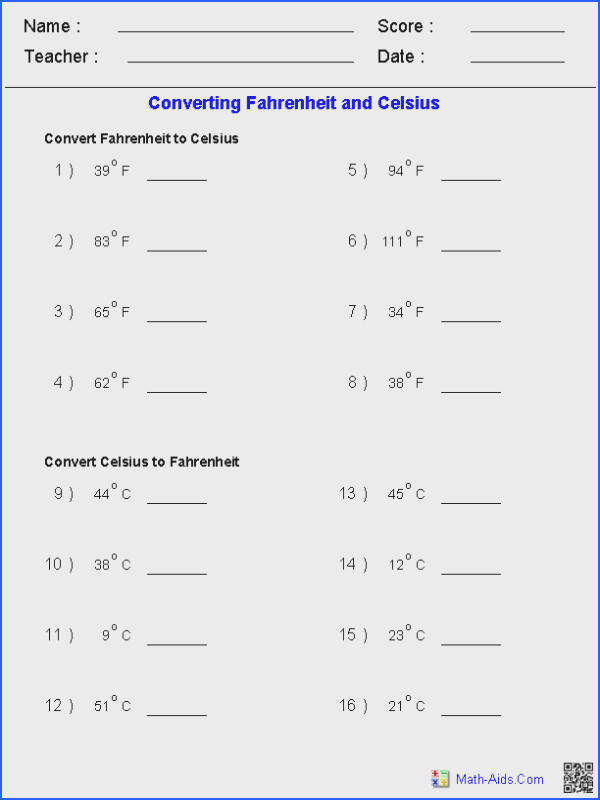 Converting Fahrenheit & Celsius Temperature Measurements Worksheets Measurement