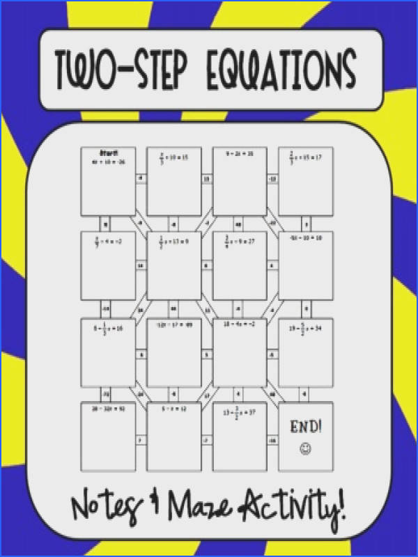 Cool Maze for review of two step equations es with notes & maze activity