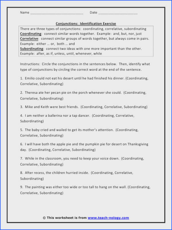Coordinating Conjunctions Worksheets 2