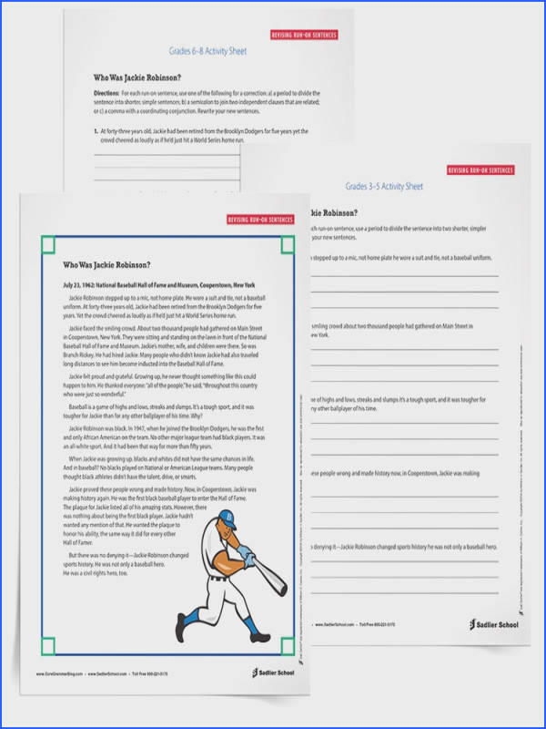 Correcting Run on Sentences Worksheets Grades 3–8