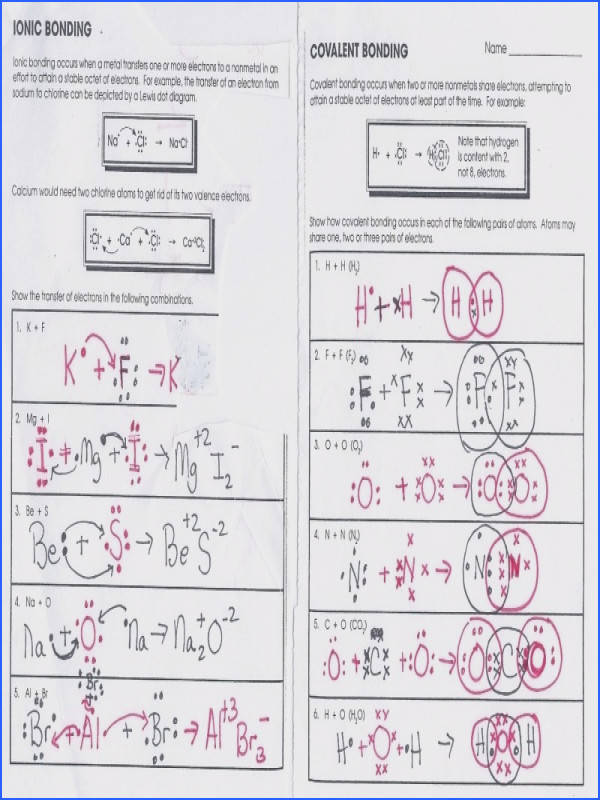 Ionic Bonding Worksheets Worksheets