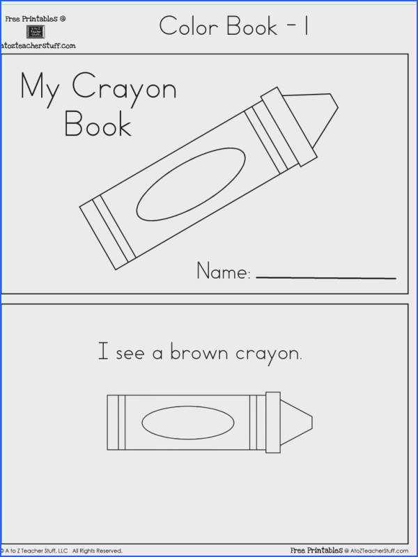 Crayon Colors Printable Book with 6 pages free Preschool